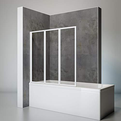 Schulte Duschwand Smart inkl. Klebe-Montage, 127 x 121 cm, 3-teilig faltbar, 3 mm Sicherheits-Glas klar, alpin-weiß, Duschabtrennung für Wanne