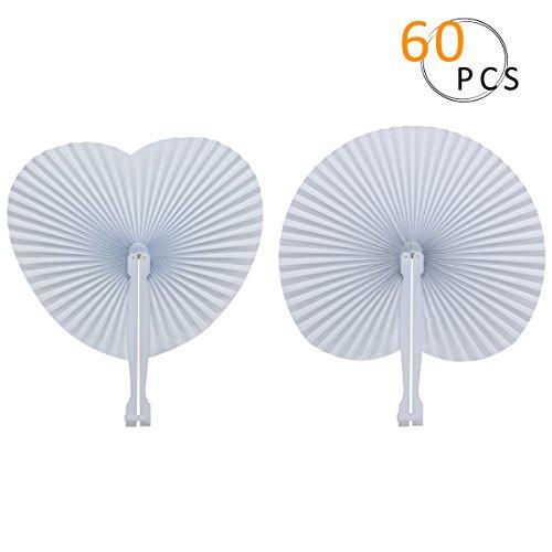PAMASE 60 Stücke Papierfächer Weiß, 30 Rund + 30 Herz, faltbar Papier Handfächer mit Handgriff für Hochzeit Deko,Party,Fest und Picknick