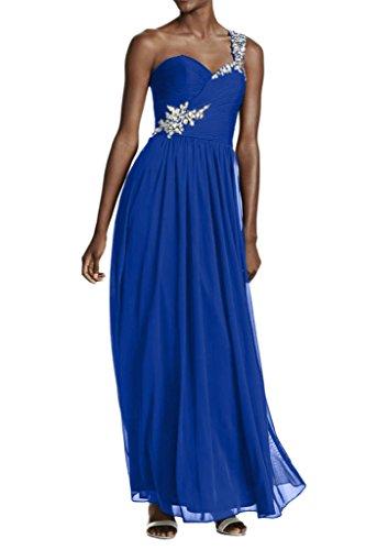 La_mia Braut Einfach Chiffon Ein-traeger Silber Pailletten Perlen Abendkleider Promkleider Partykleider Lang A-linie Rock Royal Blau
