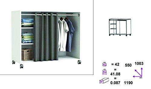 kleiderschrank auf rollen 5318 wei schrank vorhang begehbar kommode garderobe m. Black Bedroom Furniture Sets. Home Design Ideas