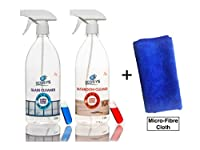 Ecosys Pack Of 2: Glass Cleaner & Bathroom Cleaner-1Litre Cleaning Spray Bottle With Capsule Each + Micro Fibre Cloth