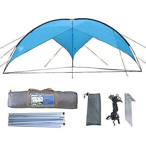 zoophyter 4,8x 4,8m Toldo Refugio Parasol Playa Tienda de campaña, con Guy Line & Juego De Viento para estado,