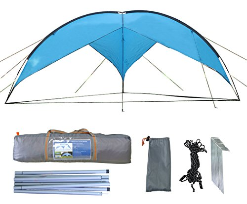 zoophyter 4,8x 4,8m spiaggia parasole Shelter Tenda Baldacchino, con Guy Line e gioco kit per vento condizione, blu