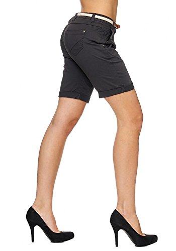 Short Femmes Chino avec ceinture MIRABELLE Nr.1527 Dunkelgrau