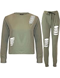 Fashion Star Womens Laser Cut Destroyed Ripped Tracksuit Set