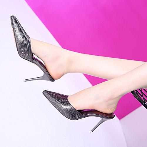 Heiße Bohren 9Cm High Heels Waffe Farbe Licht Mit Einem Feinen Im Frühling Und Sommer Sexy Schuhe Halb Neue Sandalen 34 Waffe Farbe (Worte Sind Waffen)