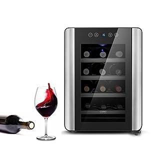 Caso-WineCase-Red-12-Design-Weinkhler-Weinkhlschrank-speziell-fr-Rotwein-12-Flaschen-Temperatur-von-10-18C-einstellbar-Energieeffizienzklasse-A