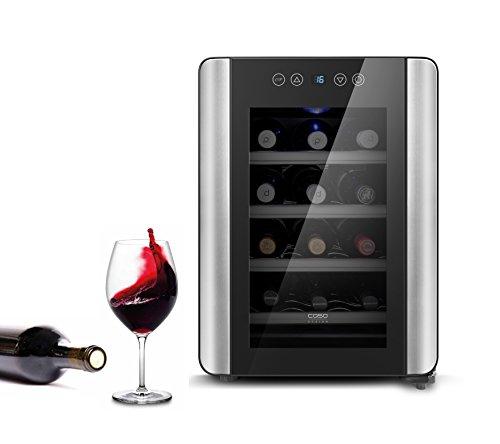 Caso WineCase Red 12 - Design Weinkühler, Weinkühlschrank speziell für Rotwein, 12 Flaschen,...