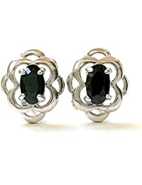 Or blanc 9 carats Motif celtique Boucles d'oreilles en zircone cubique Noir