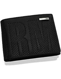 Storm Echo Embossed Black Leather Wallet Multi Pocket Card Holder Men Gift Box