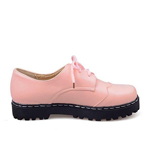 VogueZone009 Femme Couleur Unie à Talon Bas Lacet Rond Chaussures Légeres Rose