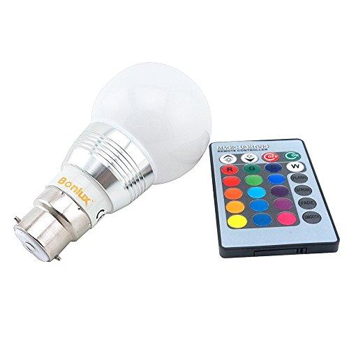 Bonlux 3W RGB B22 Bajonett LED-Lampe mit IR-Fernbedienung 16 Multi Farbwechsel Bajonettkappe BC RGB LED GLS-Glühlampe für Hauptdekoration / Bar / Party / KTV Stimmung Ambiance (Hat Lightbulb)