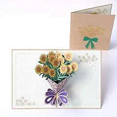 Idea Regalo - Paper Spiritz fatto a mano mazzo pop up Cards mazzo di fiori girasoli per compleanno del ringraziamento mamma, Natale auguri in 3D tutte le occasioni