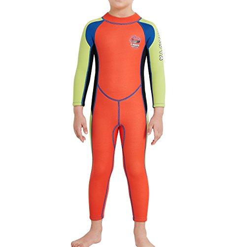 GWELL Jungen Mädchen Kinder Neoprenanzug 2.5MM Neopren Langarm Warmhaltung UV-Schutz Tauchanzug Badeanzug für Wassersport Orange XL