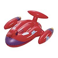 Bestway 41100-18 Childrens Kids Inflatable Space Jet Splasher Garden Swimming Paddling Pool Ride On Water Gun Beach Float Toy Lilo, red