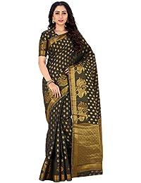 Mimosa By Kupinda Women's Art Silk saree Kanjivaram Style Color : Black (4171-176-SD-BLACK)