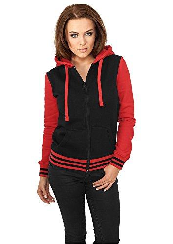 TB755 pour femme college 2 tons capuche veste sweat à capuche avec fermeture éclair Multicolore - Blk/Red