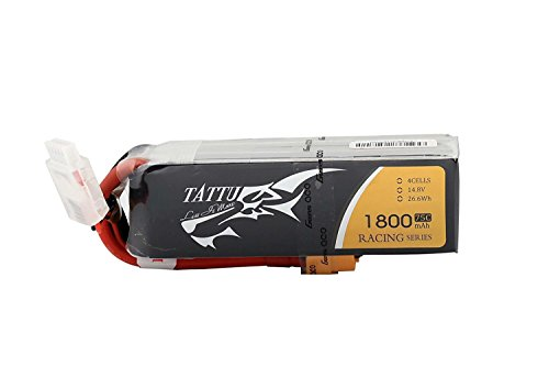 Tattu LiPo Battery Pack 1800mAh 14.8V 75C 4S Racing Series with XT60 Plug for RC Car Boat Truck Heli Airplane UAV Drones FPV - Rc-cars 1800mah
