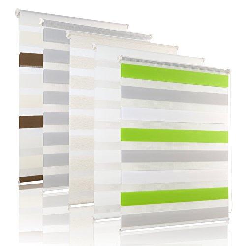 heißester Verkauf heiß-verkauf echt eine große Auswahl an Modellen 75 x 150 cm Grün-Grau-Weiß Doppelrollo Klemmfix Rollo ...