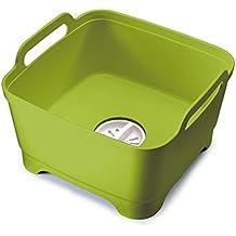 Joseph Joseph 85059 Wash and Drain Dish Tub Plastic Dishpan with Draining Plug Carry Handles for Dishwashing Cleaning 12.4-inch x 12.2-inch x 7.5-inch, Green