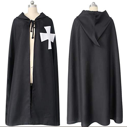 Mann Magic Black Kostüm - WXFC Erwachsenen Halloween Kostüm Hoodie Robe Cosplay Mantel, schwarz,Schwarz,S