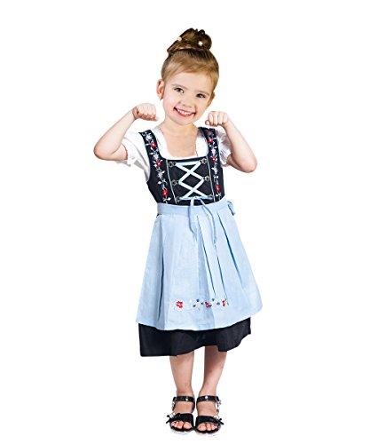 Kinder-Dirndl 3 teilig Dik06 Gr. 122, Trachten-Kleid hellblau-schwarz Dirndel-Bluse -Schürze für Oktober-Fest