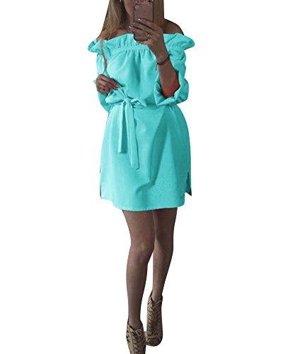 SaiDeng Femme Robe Elégante Courte Baggy Lâche Tunique Robe De Cocktail Azur
