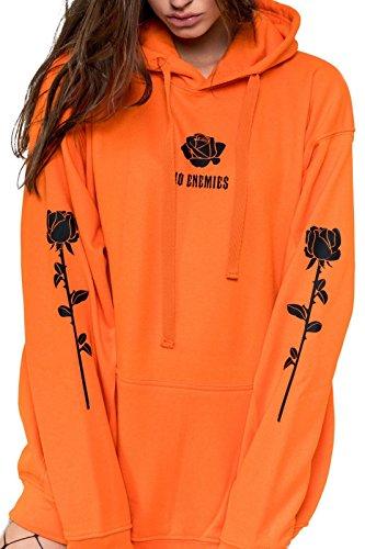 885fa38c42f MINGA LONDON No Enemies Hoodie Sweater Jumper Sweatshirt Top Women s Fun  Tumblr Grunge Goth Fashion Rose