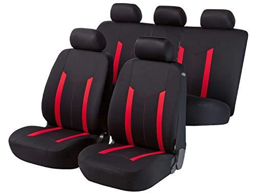 Walser 11809 Set Completo coprisedile Auto Hastings, Rosso Nero, per Veicoli Dotati di airbag Laterale, Certificato dal TÜV con CO
