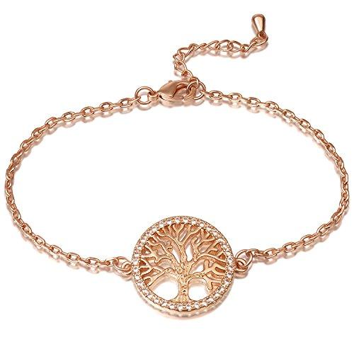 Imagen de ateielli® pulsera árbol de la vida chapado en oro rosa regalo mujer jw b205