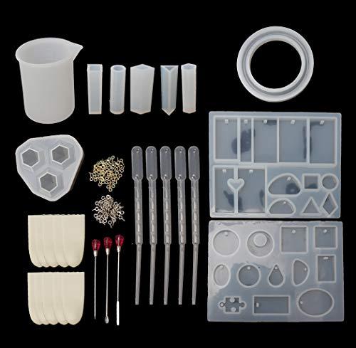 Huafi 10 Pack Harzguss Schmuck Anhänger Form und Tool Kit für Harz Schmuckherstellung (10 K Anhänger)