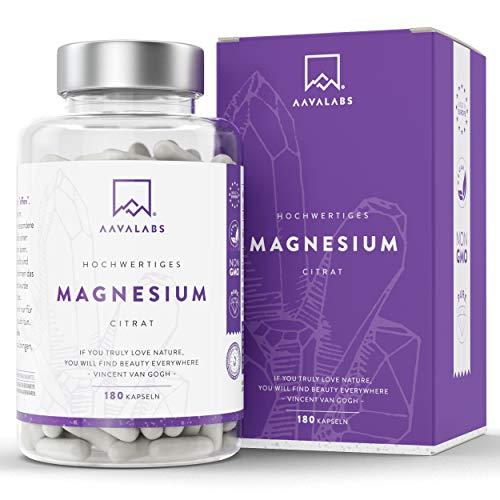 Magnesiumcitrat Kapseln [ 400 mg ] 180 Stück von AAVALABS - 100% Vegan & NON-GMO -
