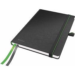 Leitz - Cuaderno de tapa dura (A5, de rayas), color negro