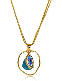 Miranika Gold Plated Pendant for Women (Blue)(C1D1APS1)