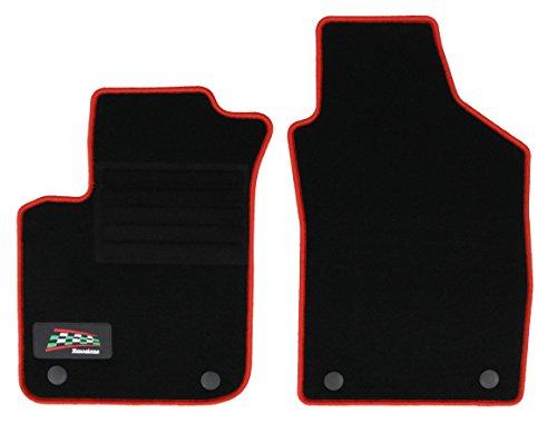 Fußmatte Autoteppich Autofußmatte Passform Velours mit Logo, 2-tlg., mit roter Kettelung, mit original Befestigung - Fußmatte 500 Fiat Autoteppich,
