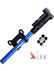Mini Bike Pump,Raniaco 120PSI Portable Bicycle Frame Pump with Gauge,High Pressure Cycling Pump for Presta & Schrader,With Tire Patch Kit and Ball & Balloon air Inflation Needles by Raniaco