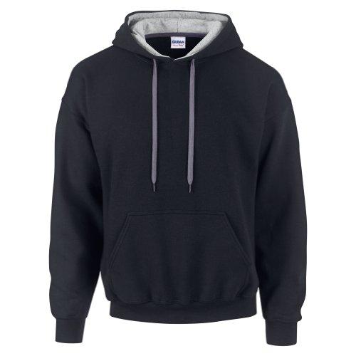 Gildan Heavy Blend Contrast Kapuzenpullover (2XL) (Schwarz/Grau) XXL,Schwarz/Grau - Gildan Hoodie Sweatshirt