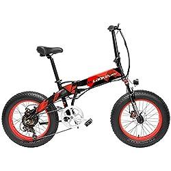 LANKELEISI X2000 20 Pulgadas Bicicleta Grasa Plegable Bicicleta Eléctrica 7 Velocidad Bicicleta de Nieve 48V 12.8Ah 500W Motor 5 Pas Bicicleta de Montaña (Negro Rojo, 10.4Ah + 1 batería de Repuesto)