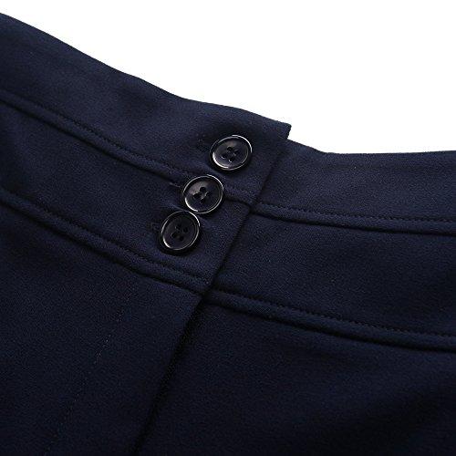 Chicwe Pantaloni Taglie Forti Donna Curvy-Fit Lunghezza Ritagliata Gamba Larga Pantaloni con Cintura Larga EU46-58 Blu
