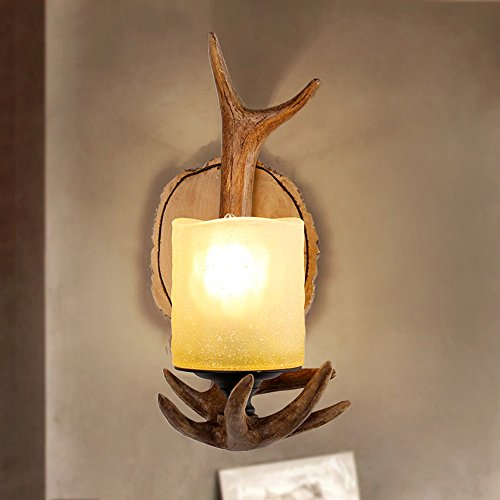 Geweih Wandlampe Amerikanischen Land Retro-Stil Wohnzimmer Bedhead Dekor Schlafzimmer Bar Handwerk Geweih Wandleuchte (Land-dekor-shop)