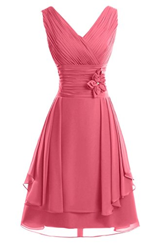 ivyd ressing Femme col V avec fleurs ligne A court Demoiselle d'Honneur Prom robe robe du soir Pastèque
