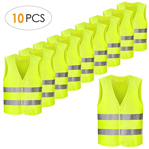 FEMOR Warnwesten, 10PCS Sicherheitswesten, Pannenweste für Auto, Fahrrad, Waschbar, Knitterfrei(70x 46cm,Gelb)