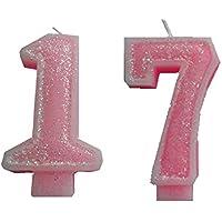 """'2pieza Cumpleaños vela con la """"Número 17para niña/mujer color rosa brillante"""