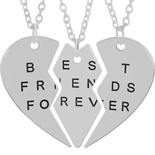 MESE London Best Friends Forever 3 Pezzi Collana Pendente In Argento Da Condividere - Scatola Regalo Elegante