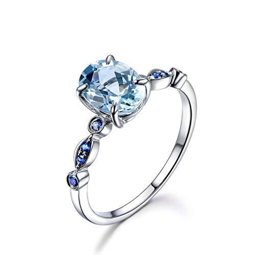 Boho 925 Silber Ringe Men Herren 925 Silbering Blau Topas Oval Cut  Blue Intarsien 4 Krallen 8 Dunkelblaue Runde 61 (19.4) Bandring Hochzeit Valentinstag ()