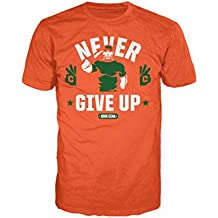 WWE John Cena Never Give Up cara oficial camiseta para hombre (naranja)