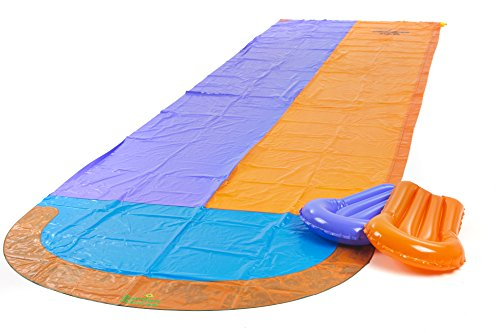 Garden Games Limited 4.7 Metre Double Racing Water Slide with Two Inflatable Boogie Boards and Sprinkler