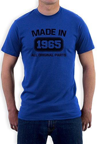 Made In 1965 All Original Parts 50th Birthday Gift Nostalgic Retro Year Regular Fit Men's T-Shirt Blue