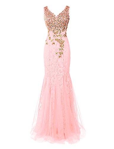 Dresstells Damen Luxuriöse Königliche Ballkleider Pfau Abendkleider Rosa
