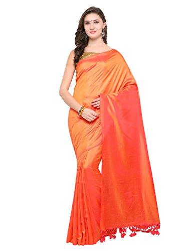 Inddus Orange Colored Art Silk Sari with Blouse Piece